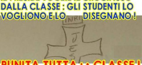 """Vogliono il crocifisso in aula, lo disegnano sul muro. Punita l'intera classe Gli studenti di un Istituto Tecnico in Umbria hanno ricevuto un richiamo disciplinare: """"Volevamo solo il crocifisso"""" è..."""