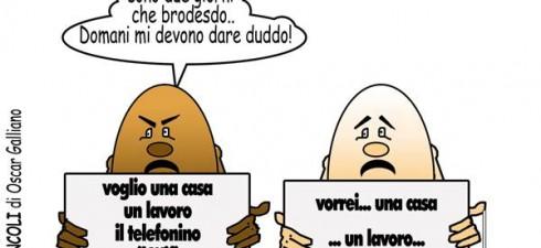 OVOMUNCOLI DI OSCAR GALLIANO – Vignetta numero 900 degli Ovomuncoli, dedicata alle proteste continue degli immigrati clandestini, che una volta protestano contro il cibo, un' altra contro gli alberghi senza...