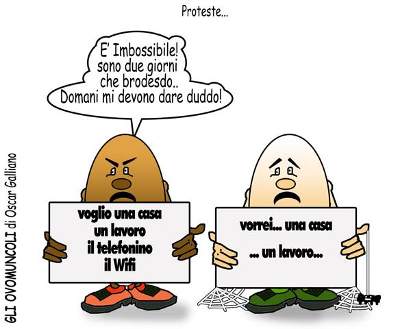 OVOMUNCOLI DI OSCAR GALLIANO – Vignetta numero 900 degli Ovomuncoli, dedicata alle proteste continue degli immigrati clandestini, che una volta protestano contro il cibo, un' altra contro gli alberghi senza […]