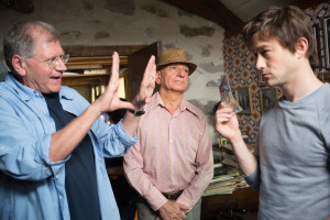 Director Robert Zemeckis with Sir Ben Kingsley (middle) and Joseph Gordon-Levitt on the set of TriStar Pictures' THE WALK.