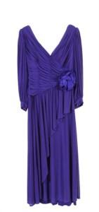 abito da sera lungo in seta viola appartenuto a Silvana Pampanini (Loris Azzaro)x
