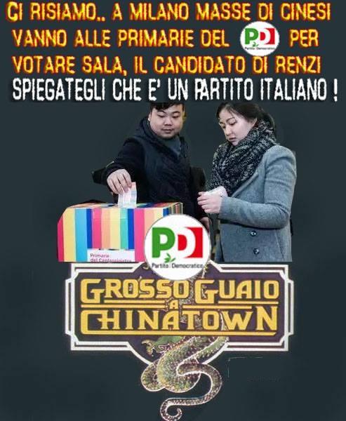 IL PDE' ANCORA UN PARTITO DI ITALIANI PER GLI ITALIANI ? A MILANO DI NUOVO IL CANDIDATO RENZIANO SALA VIENE VOTATO COMPATTO DA CINESI.. ESCONO DALLE CANTINE IN MASSA ! […]