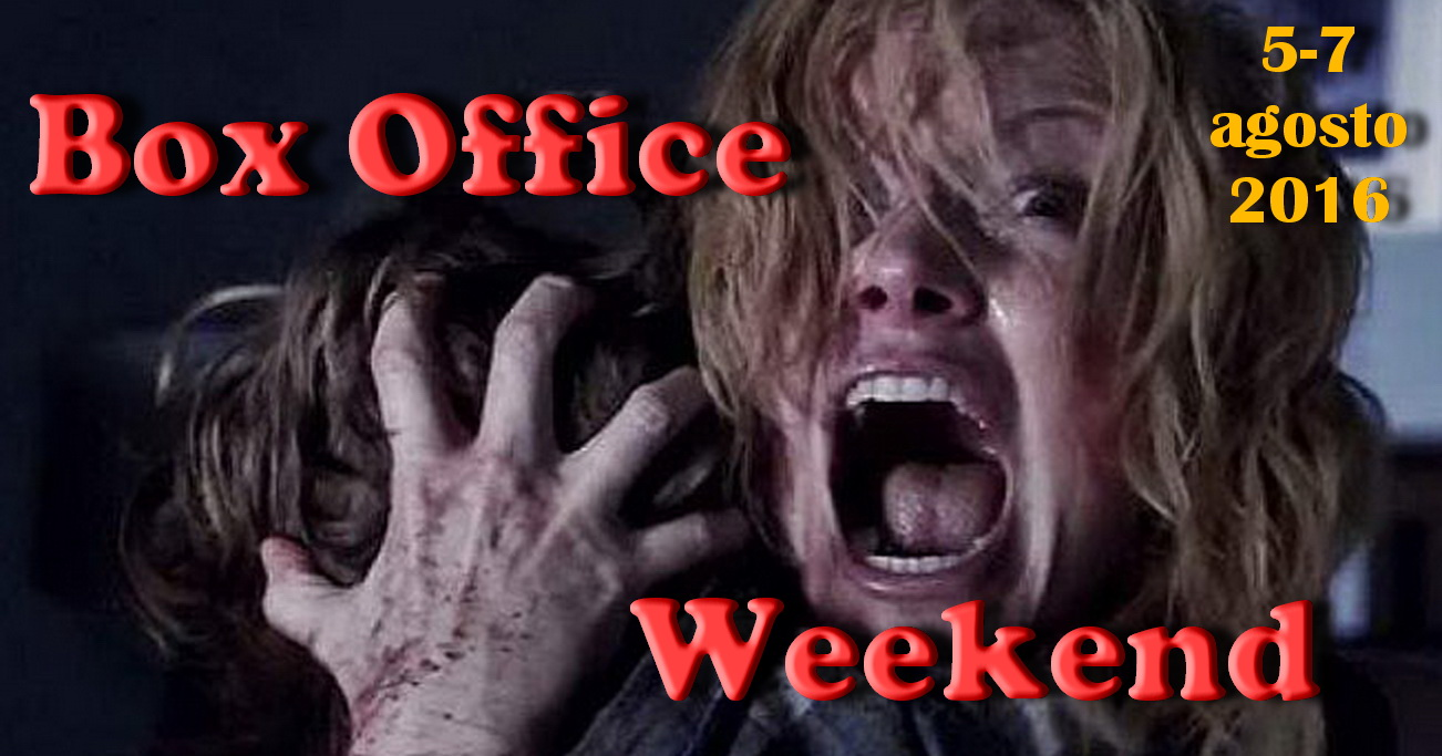 "Secondo appuntamento di agosto con la rubrica ""Box Office Weekend"", dedicata agli incassi del fine settimana cinematografico. Torna l'horror in testa alla classifica, con il piccolo film Lights out – […]"
