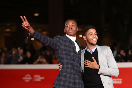 "I protagonisti di ""Moonlight"", Jharrel Jerome e Ashton Sanders sul red carpet (foto Zunino Celotto)"