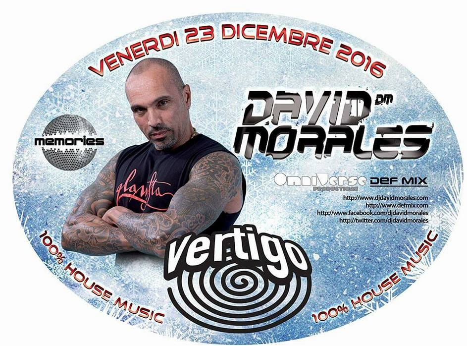 "Un grande dj, produttore e remixer a Torino, come regalo di Natale, per la serata ""Vertigo"" al Life, il 23.12.2016: David MORALES. ""I am creating a place for people to […]"