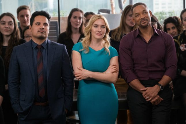 Will Smith, Kate Winslet, e Michael Peña in Collateral Beauty