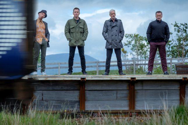 Ewan McGregor, Robert Carlyle, Jonny Lee Miller, e Ewen Bremner in T2 Trainspotting