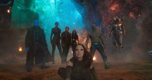 Vin Diesel, Bradley Cooper, Chris Pratt, Michael Rooker, Zoe Saldana, Dave Bautista, Karen Gillan e Pom Klementieff in Guardiani della galassia vol. 2