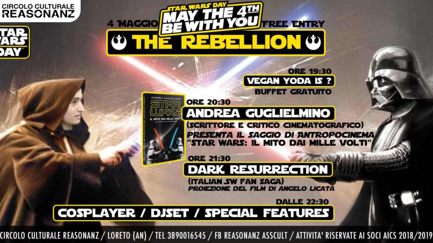 Mini-tour per Andrea Guglielmino, giornalista, scrittore pop, e redattore di CinecittàNews. Sabato 4 Maggio 2019, in occasione dello 'Star Wars Day' (usanza nata dal gioco di parole 'May the Fourth […]